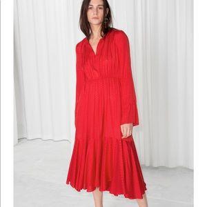 Red Flowy dress with tie details